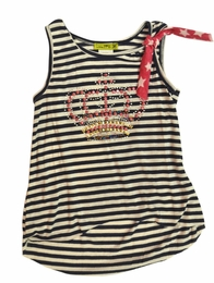 "Little Mass Navy Striped ""American Royalty"" Crown Tank Top<br>Sizes  6 & 6X"