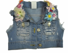Little Mass So Springy Denim Vest with Floral Appliques<br>Sizes 2T - 14