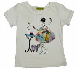 Little Mass Springy White & Aqua Fleur Girl Tee<br>Sizes 2T - 6X