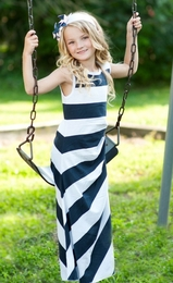 Lollipop Twirl by Lemon Loves Lime Navy & White Be Bold Tank Sundress