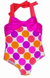 Love U Lots Beautiful Dotted Halter One Piece Swimsuit