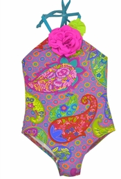 Love U Lots Gorgeous Paisley Print Halterneck Swimsuit