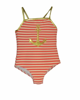 Love U Lots CORAL NAUTICAL Striped One Piece Anchor Swimsuit *FINAL SALE*