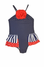 Love U Lots Dot Red/White & Blue Nautical Skirted Swimsuit