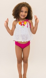 Love U Lots Fuschia Shimmer Ruffle Two Piece Tankini