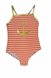 Love U Lots Gold Trim Anchor Striped One Piece Swimsuit