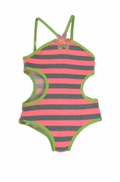Love U Lots Grey & Lime Stripe Sassy Swimsuit w/Side Cut Outs