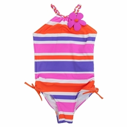 Love U Lots Hot Pink/Orange & Purple One Piece Stripe Swimsuit