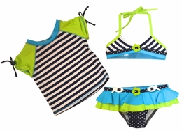 Love U Lots Navy Stripe 3 Piece Bikini/Rash Guard Set