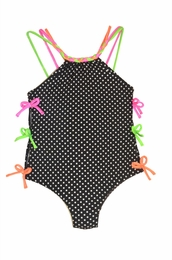 Love U Lots One Piece Black Dotted Swimsuit w/Side Bows