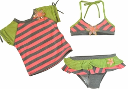 Love U Lots Stripe 3 Piece Grey & Lime Stripe Rash Guard Set