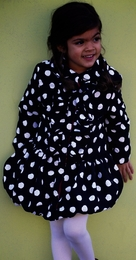 "Mack & Co. Adorable ""MUST HAVE"" Black/White Dot Ruffle Microfiber Coat w/Detachable Hood"