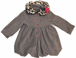"Mack & Co. ""Animal Party"" Charcoal Fleece Pouf Coat"