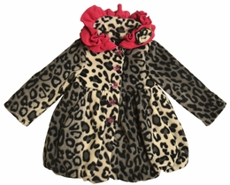 "Mack & Co. ""Animal Party"" Snow Leopard Fleece Pouf Coat"