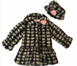 Mack & Co. Black and White Check Drop Waist Minky Soft Coat and Hat Set *PREORDER*