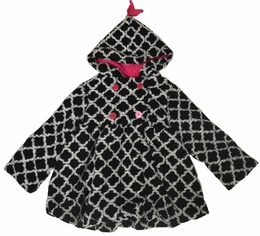 Mack & Co. Black and White Hi-Lo Hooded Double Breasted Coat *PREORDER*