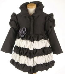 "Mack & Co. Black and White ""Layer Cake"" Super Sweet Coat WITH HOT PINK FLOWER<br>Sizes 3T & 4T"