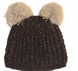 Mack & Co. Charcoal Knit Pom Pom Hat