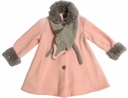 Mack & Co. Classic Pink Coat w/Removable Grey Fox Faux Fur Scarf