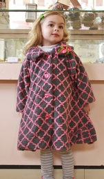 MagPie Pink and Charcoal Lattice Print Coat