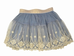 Mae Li Rose Beautiful Blue Skirt w/Lace Overlay