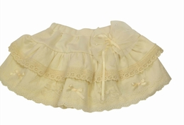 Mae Li Rose Cream Cotton Tiered Lacy Appliqued Skirt