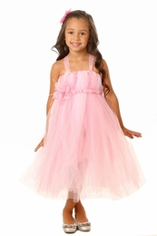 MaeLi Rose Fancy Pink Tulle Dress with Versatile Elastic Flower Band