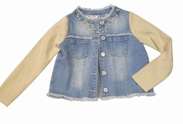Mae Li Rose Gorgeous Denim Jacket with Knit Sleeves