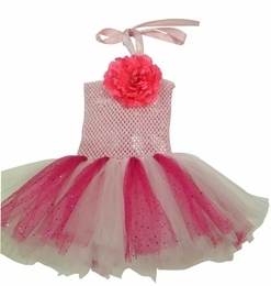 MaeLi Rose Gorgeous Pink Tulle Halter Neck Dress w/Removable Daisy Hairclip-Pin