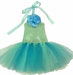MaeLi Rose Gorgeous Turquoise Tulle Halter Dress w/Removable Daisy Hairclip-Pin
