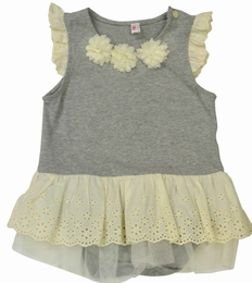 Mae Li Rose Gray & Ivory Skirted Baby Onesie