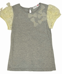 Mae Li Rose Gray Top w/Lace & Flowerettes