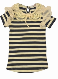 Mae Li Rose Navy Stripe Top wth Lace Collar