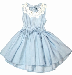 Mae Li Rose Precious Light Blue Chambray Dress