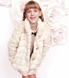 MaeLi Rose CREAM  Fancy Faux Fur Coat