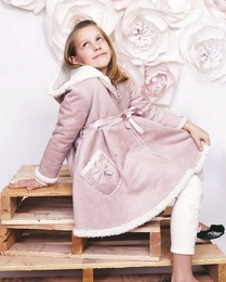 MaeLi Rose Blush Bow Fleece Lined Coat  *PREORDER*