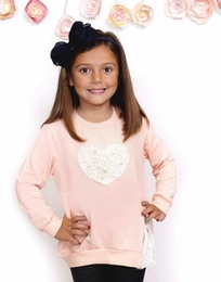 MaeLi Rose Bright Peach Heart Zip Sweatshirt