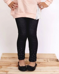MaeLi Rose Deep Navy Fleece Lined Rhinestone Legging