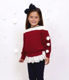 MaeLi Rose Red Crochet Sweater with Lace Hem