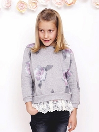 MaeLi Rose Watercolor Lace Sweatshirt