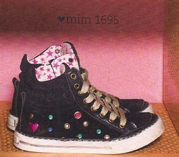 Mim-Pi Black High Top Suede/Leather Sneaker with Rhinestones