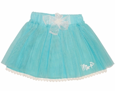 Mim Pi Blue Tutu Skirt with White Lace Trimmed Underlay *FINAL SALE* - click to enlarge