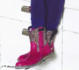 Mim-Pi Hot Pink Leather Glitter Cowgirl Boot