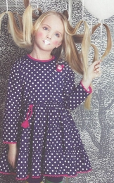 Mim-pi Navy Tiered Polka Dot Twirling Dress<br>*PREORDER*