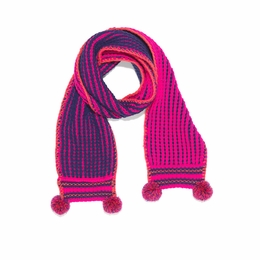 Mim Pi Precious Knit Hot Pink & Navy Pom Pom Scarf *FINAL SALE*