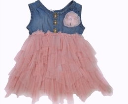Mini Mini Mass Denim Henley Pink Tutu Dress<br>Sizes 12m - 4T