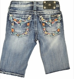 Miss Me Floral Flap Pocket Bermuda Shorts<br>Sizes 7-14