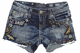 "Miss Me Gorgeous ""Love Bird"" Embroidered Denim Shorts"
