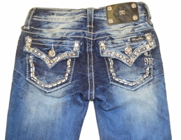 Miss Me Light Wash Skinny Jeans with Rhinestone and Sequin Pocket Detail