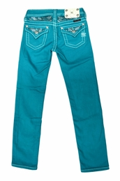 Miss Me Peacock Colorful Skinny Jeans with Beading Detail